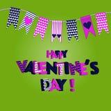 Милые флаги идеальные для дня валентинок, свадьбы, дня рождения, bridal ливня, детского душа, ретро украшения etc партии Стоковое фото RF