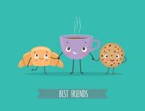 Милые характеры круассан, печенья с шоколадом и чашка cof Стоковое фото RF