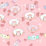 милые характеры донута и конфеты шаржа Стоковые Изображения RF