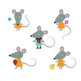 Милые характеры mouses на белой предпосылке вектор Стоковые Фото