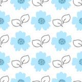 Милые цветки и листья Нарисовано вручную флористическая картина безшовная иллюстрация штока