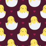 Милые цыплята младенца в картине яичек безшовной Стоковая Фотография RF
