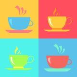 Милые чашки и торты Иллюстрация вектора