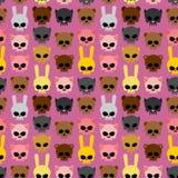 Милые черепа животных: кролик и кот, медведь и свинья безшовно Стоковое Изображение