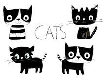 Милые черно-белые коты вектора Бесплатная Иллюстрация