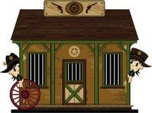 Милые шерифы ковбоя на тюрьме Стоковые Изображения