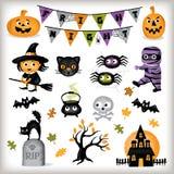 Милые элементы графика хеллоуина Стоковое Фото