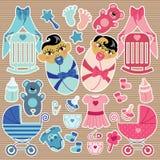 Милые элементы для азиатского младенца дублируют мальчика и девушки Стоковая Фотография RF