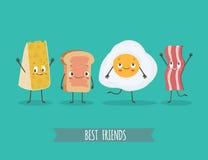 Милые chees, хлеб, яичко и бекон характеров Стоковые Изображения