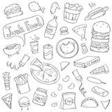 Милые Doodles высококалорийной вредной пищи Стоковая Фотография RF