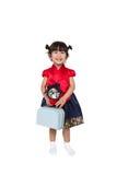 Милый азиатский корейский ребенк в костюме Стоковое Изображение RF