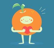 Милый апельсин обнимая сердце Стоковое Изображение RF