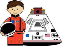 Милый астронавт и космическая капсула Стоковые Фотографии RF