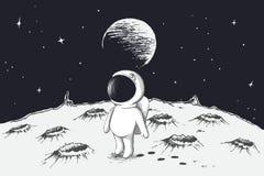 Милый астронавт идя на луну бесплатная иллюстрация