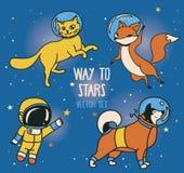 Милый астронавт doodle и животн-астронавты и ретро стиль выпускают ракету плавать в космос иллюстрация вектора