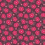 Милый безшовный цветочный узор в пинке и красном цвете Стоковое фото RF
