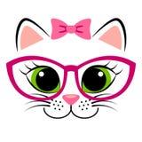 Милый белый котенок с розовыми смычком и стеклами Girlish печать с киской для футболки иллюстрация вектора