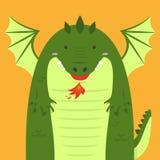 Милый большой тучный зеленый дракон Стоковое Изображение
