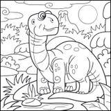 Милый бронтозавр, книжка-раскраска бесплатная иллюстрация
