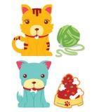 Милый вектор кота и собаки Стоковые Изображения