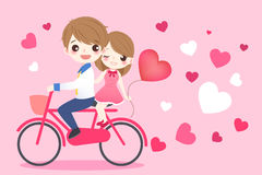 Милый велосипед езды пар шаржа Стоковые Изображения