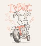 Милый велосипед езды шаржа кролика Иллюстрация штока