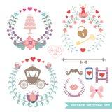 Милый винтажный флористический комплект с деталями свадьбы Стоковое фото RF