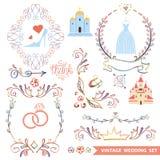 Милый винтажный флористический комплект с значками свадьбы, doodle иллюстрация штока