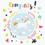 Милый волшебный плакат единорога и радуги, поздравительная открытка Стоковые Фото