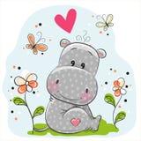 Милый гиппопотам с цветками и бабочками бесплатная иллюстрация