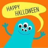 Милый голубой изверг с пузырем текста речи карточка halloween счастливый Плоский дизайн бесплатная иллюстрация