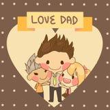 милый День отца папы влюбленности отца дочери сына семьи Стоковое Изображение