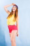 Милый девочка-подросток в модных одеждах Стоковое фото RF