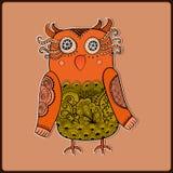 Милый декоративный сыч, иллюстрация вектора Кружевная птица Стоковое Изображение