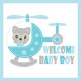 Милый енот младенца летает с иллюстрацией шаржа вертолета для дизайна карточки детского душа Стоковые Фотографии RF