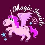 Милый единорог изолировал комплект, волшебное летание Пегаса с крылом и рожок на радуге, иллюстрации вектора лошади фантазии, миф Стоковое фото RF