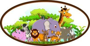 Милый животный шарж с тропической предпосылкой леса иллюстрация штока