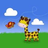 Милый жираф и бабочка Стоковая Фотография RF