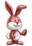 Милый зайчик держа пасхальное яйцо 2 Стоковые Изображения