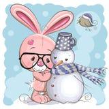 Милый зайчик и снеговик иллюстрация вектора
