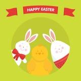 Милый зайчик пасхи, цыпленок и вектор яичка Стоковое Изображение RF