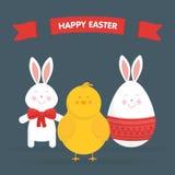 Милый зайчик пасхи, цыпленок и вектор яичка Стоковая Фотография RF