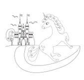 Милый замок единорога и принцессы сказки Стоковые Изображения RF