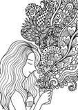 Милый запах девушки флористический дым кофе для элемента дизайна и взрослого или книжка-раскраски детей вызывает также вектор илл бесплатная иллюстрация