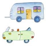 Милый зеленый автомобиль с трейлером в стиле шаржа Иллюстрация акварели нарисованная рукой Стоковая Фотография