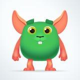 Милый зеленый мутант мыши Характер кролика потехи пушистый тучный изолированный на светлой предпосылке Придурковатый изверг шаржа Стоковое Изображение