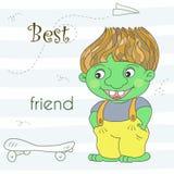 Милый зеленый дракон тролля в стиле шаржа Иллюстрация образца шуточная Стоковые Фото