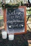 Милый знак для приема по случаю бракосочетания Стоковое фото RF