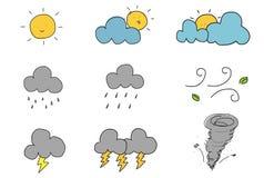 Милый значок погоды притяжки руки Стоковые Изображения