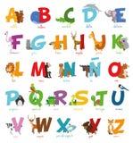 Милый зоопарк шаржа проиллюстрировал алфавит с смешными животными Испанский алфавит Стоковая Фотография